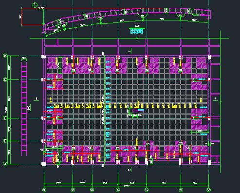 体育馆(折弧)拱形砼结构屋盖施工图