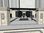 居住小区入口景观模型设计(新中式风格)