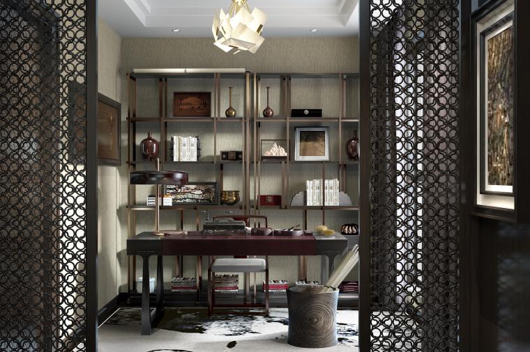 书香世家|中式风住宅书房设计3D模型(附效果图)