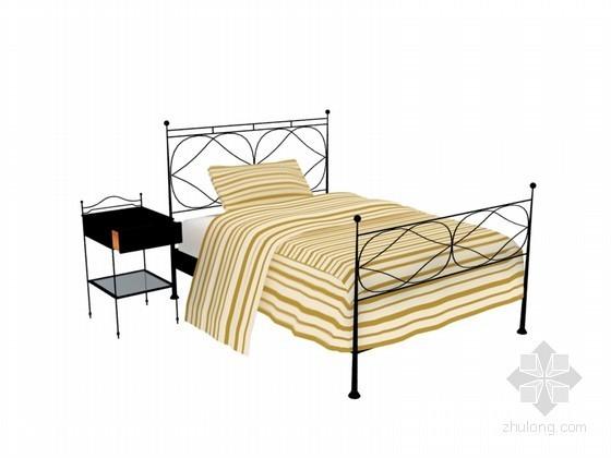 铁艺床3D模型下载