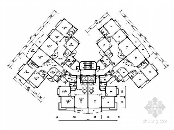 某高层住宅一梯六户型平面图(110、120平方米)