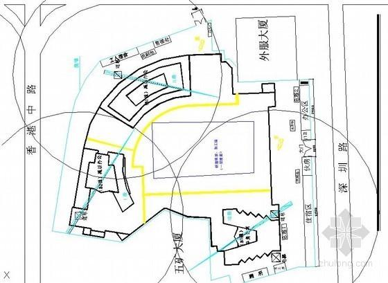 [山东]超高层商业大厦施工平面布置图(基础、主体、装饰装修)