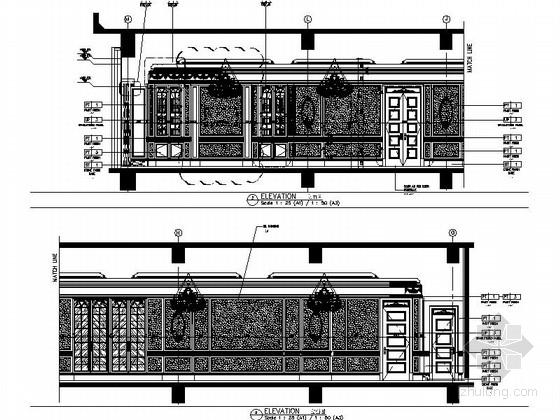 [南通]奢华五星级酒店美国厅贵宾室CAD装修图立面图