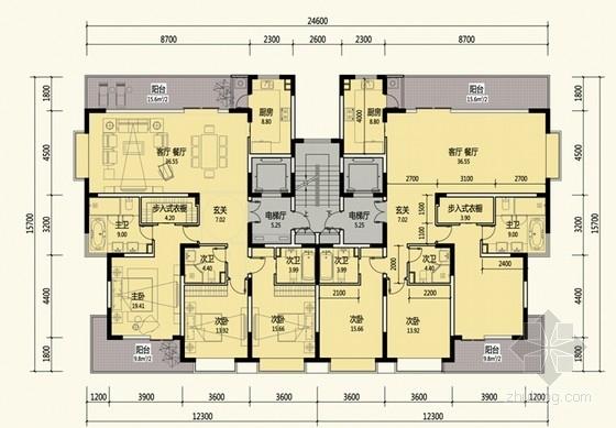 [云南]现代风格单电梯住宅区户型平面图集