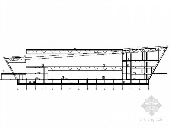 4层多功能现代风格体育中心剖面图