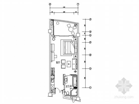 [海南]人间仙境温泉度假村现代一居室样板间装修施工图(含方案)