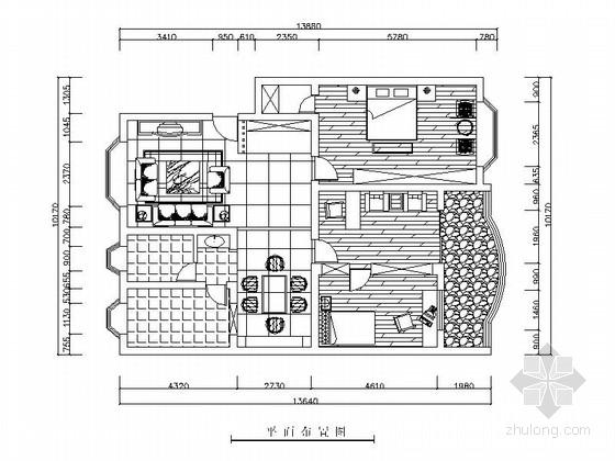 古典中式风格两居室装修图(含效果图)