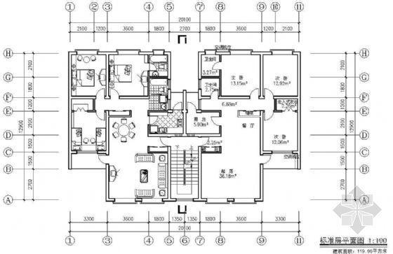 某板式住宅单元组合平面(三)