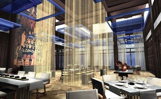 [广东]豪华温泉庭院别墅室内装修设计方案宴会厅效果图