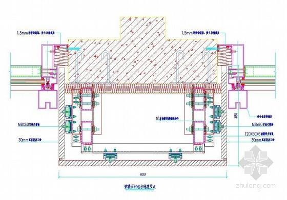 裙楼石材包柱造型节点详图