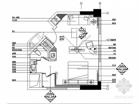 [重庆]四星级酒店商务套房室内装修施工图