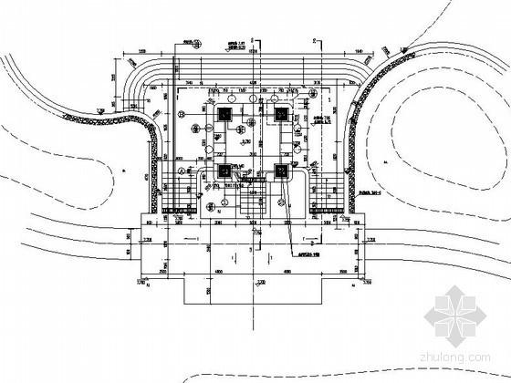 游泳池边欧式四角亭施工图