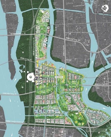 现代风格生态科技城规划设计方案总平面图