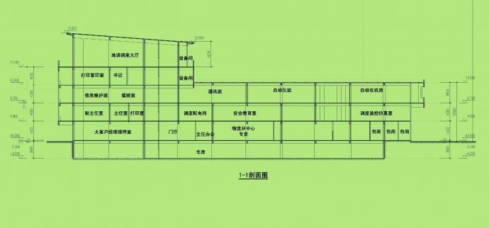 [重庆]高层金属板幕墙办公楼建筑设计方案文本-高层金属板幕墙办公楼建筑剖面图