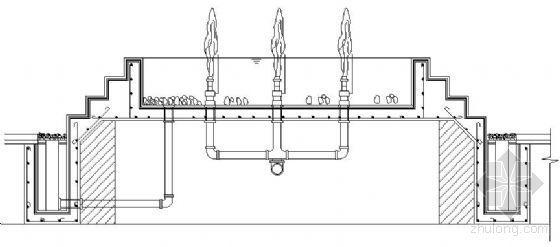 某商业街喷水池和灯柱施工图