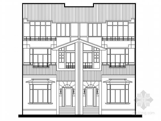某三层双拼别墅建筑方案图(200平方米)