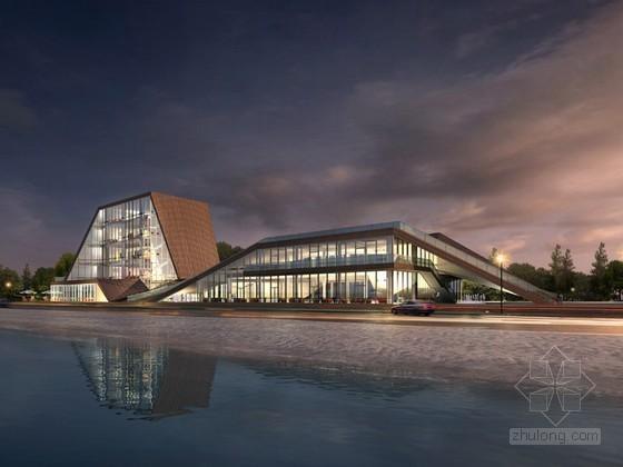 现代夜景建筑3D模型下载