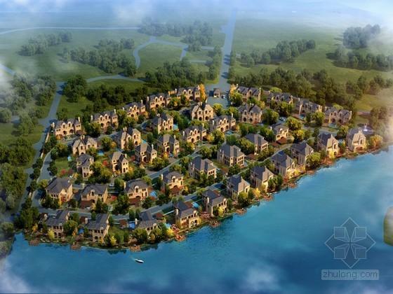 鸟瞰别墅小区3D模型下载