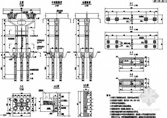 [广东]跨海大桥浅水区非通航孔桥下部结构施工图132张(钢管复合桩 42米高墩)