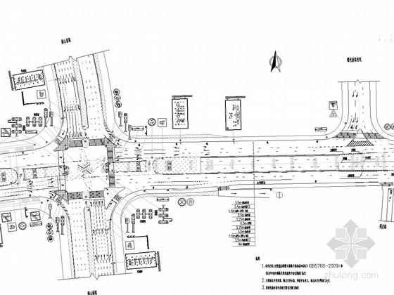 [湖南]城市立交桥工程交通安全设施施工图37张(标志标线监控护栏)