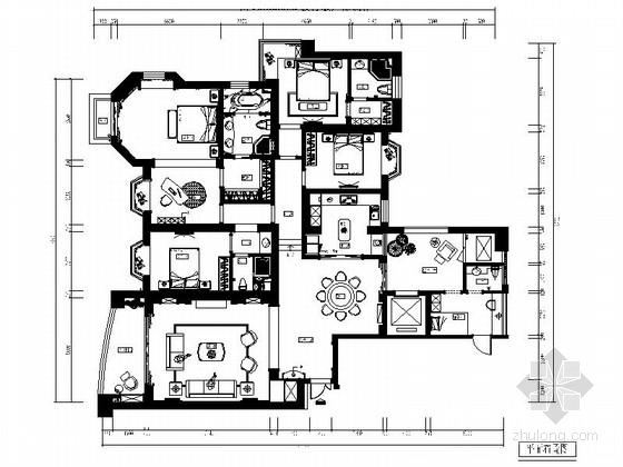 城市中心欧式风格六居室样板房装修图(含效果)