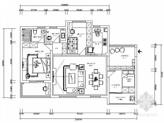 [北京]繁华CBD精品欧式风情三居室装修施工图(含效果)