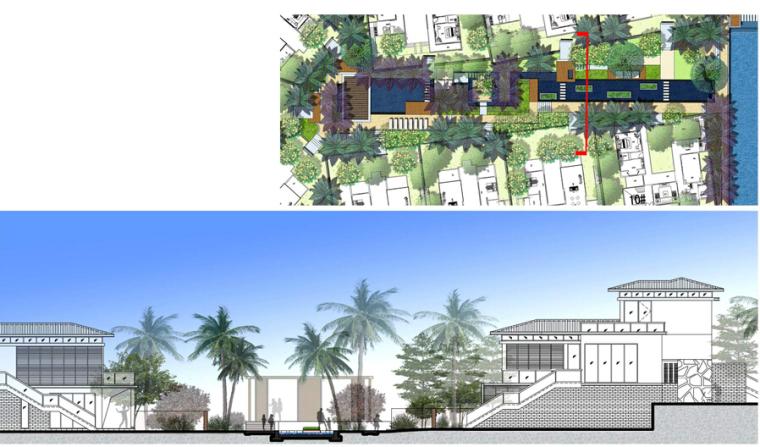 [海南]三亚高端温泉度假公寓景观设计方案(东南亚风格)-高端温泉度假公寓景观设计——中轴水景剖面图
