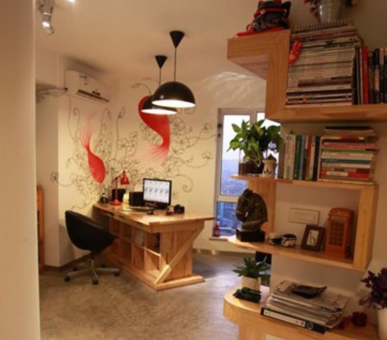抢眼手绘墙一居室装饰设计实景图