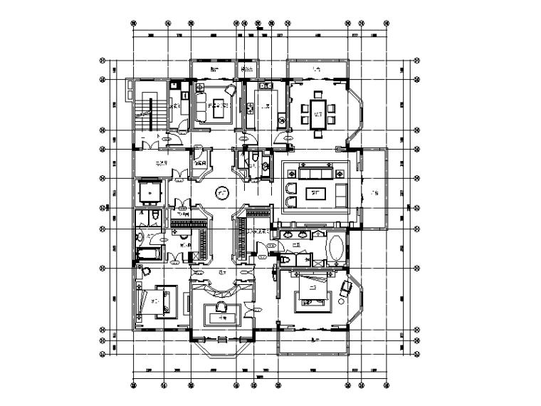 [江苏]欧式风格平层样板房CAD施工图(含效果图)