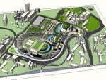 体育场改造为商业内街项目SU模型