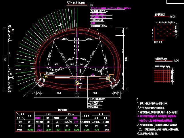 隧道S5型、S5a型复合式衬砌设计图6张CAD(适用于Ⅴ级围岩)