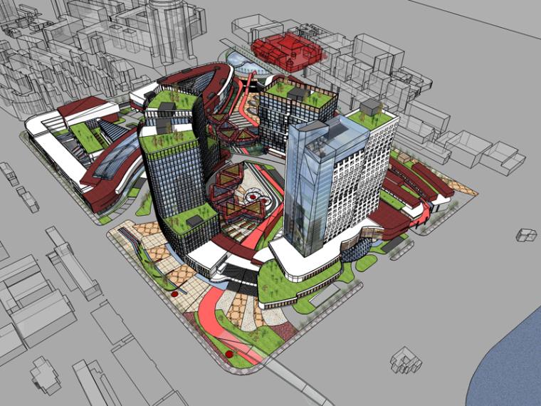 现代商业建筑SketchUp模型下载_5