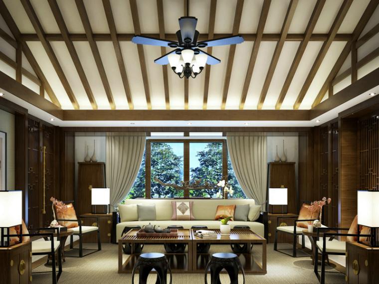 现代中式客厅3D模型下载_1