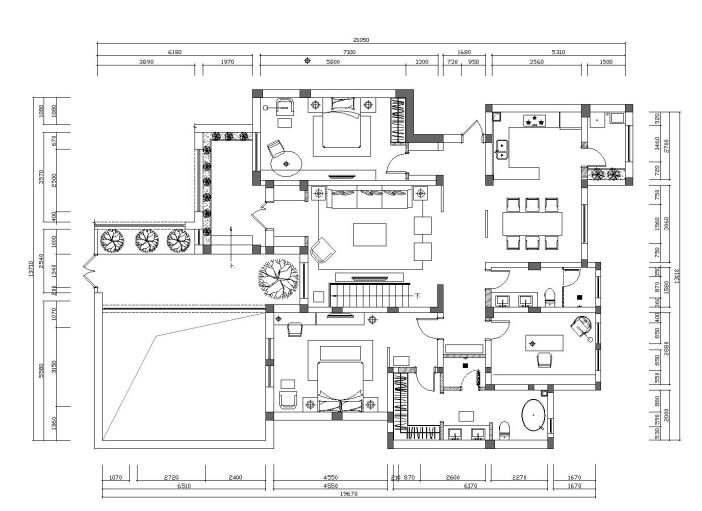 [河北]现代新中式风格别墅样板房施工图(含效果图)