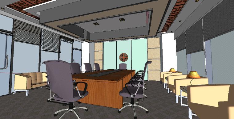 现代风格会议室3D模型下载