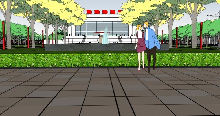 精现代风格学校规划建筑设计SU模型_5