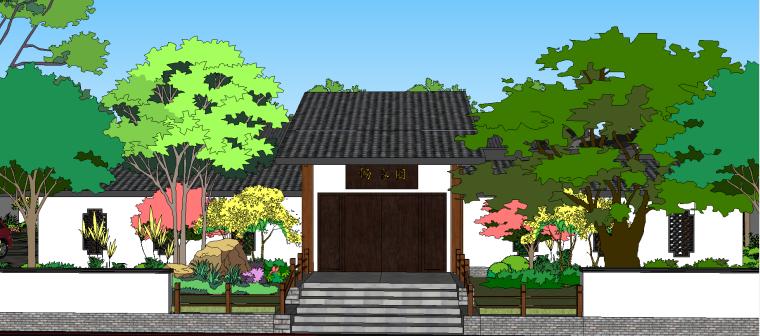 中式古建园林院落模型.skp