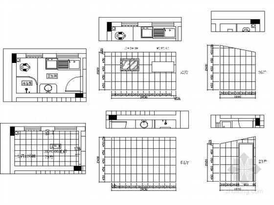 [江西]风景名胜区现代风格三层别墅装修施工图卫生间立面图