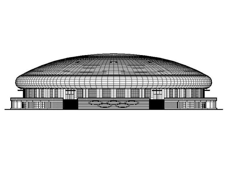 [吉林]三层轻钢屋盖长跨度椭圆形体育运动馆建筑施工图