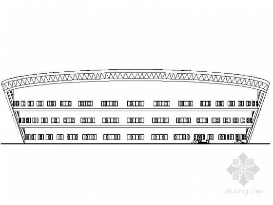 4层多功能现代风格体育中心设计立面图