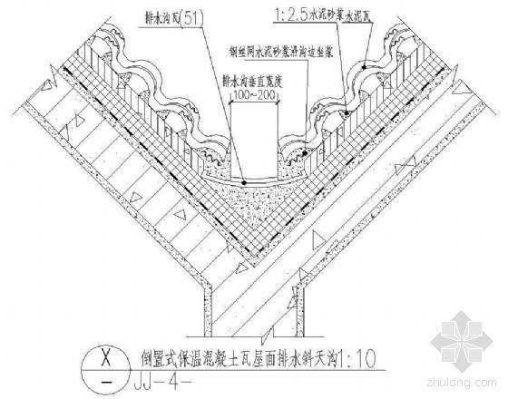 倒置式保温混凝土瓦屋面排水斜天沟(一)
