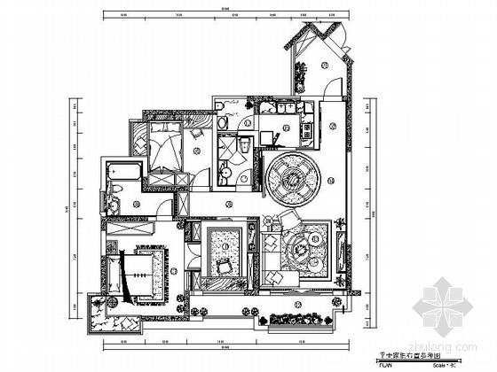 [重庆]精装美式经典三居室住宅装修施工图(含实景)