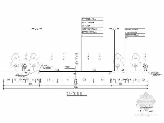 [重庆]城市标准分区32m宽双向四车道道路工程施工图纸125张(含交通电照雨污水)