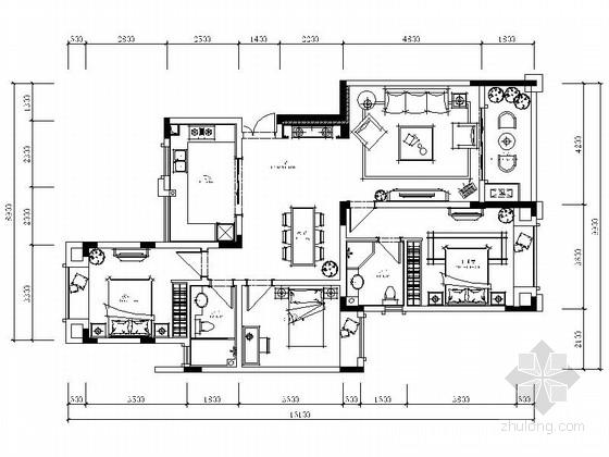 [重庆]城市示范区简欧三居室样板房CAD装修施工图