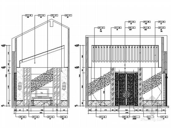 [苏州]苏式现代会议酒店中餐厅室内施工图 立面图