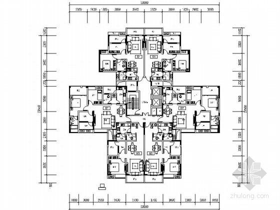 某小高层住宅一梯四户型平面图(500平方米)