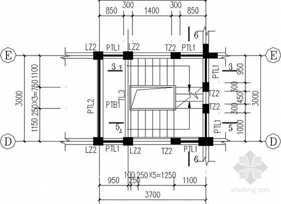 别墅复杂三跑楼梯节点构造详图