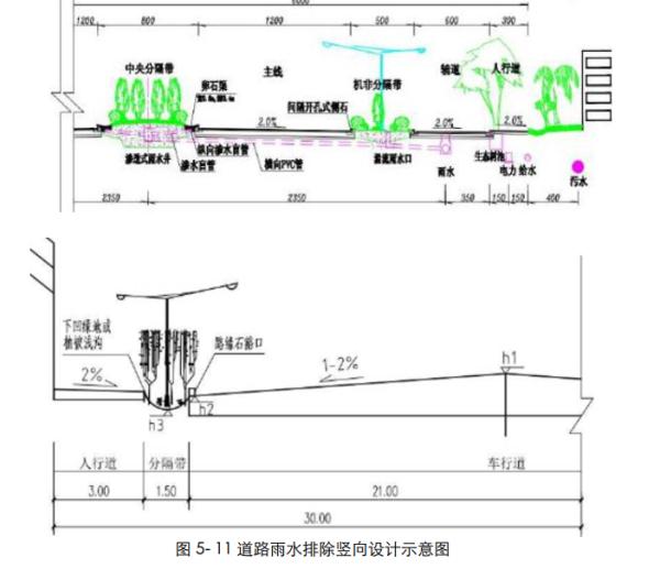 """[四川]""""海绵城市""""城乡规划专项设计详细解读文本(附规划图则+植物名录)-道路雨水排除竖向设计示意图"""