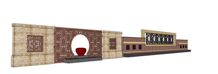 中式黄色调景墙su模型设计