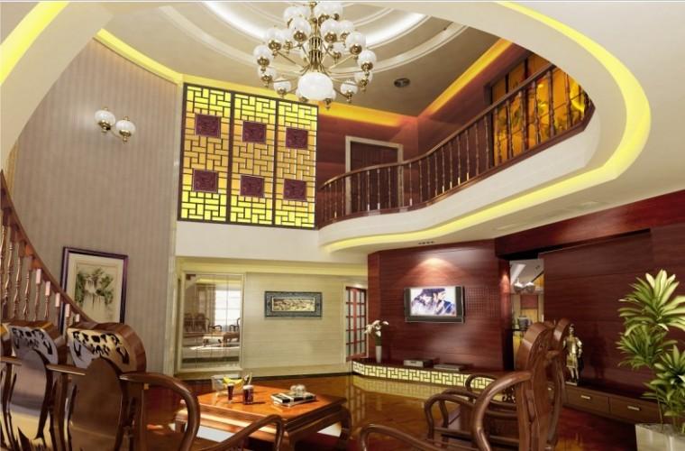 某中式豪华别墅室内设计施工图及效果图